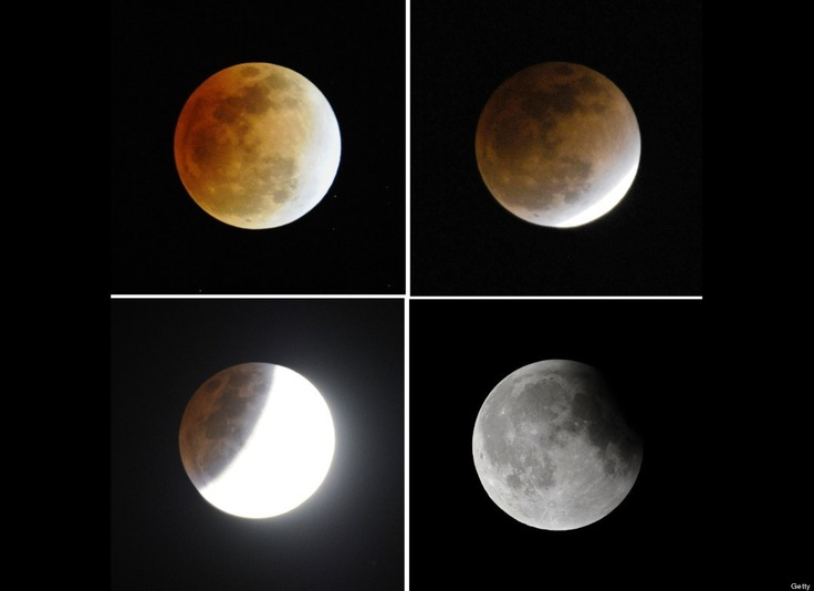 This combo show the four different moments of lunar eclipse in the sky in Beijing on December 10, 2011