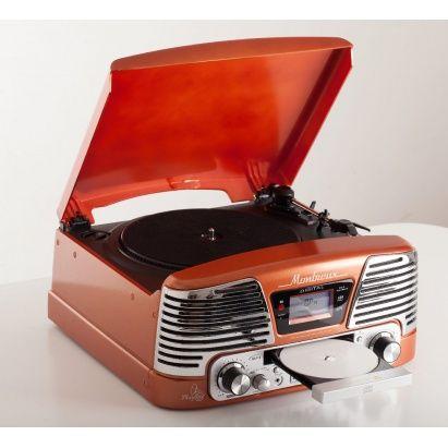 """Ретро-проигрыватель Montreux - незаурядный подарок в стиле винтаж. Несмотря на то, что внешне он напоминает проигрыватели виниловых дисков, популярных в 1950-х годах, он имеет современную техническую """"начинку"""".  Он способен не только проигрывать виниловые пластинки в трех скоростях - 33, 45 и 78 оборотов в минуту, - но и переписывать любимую музыку с винила на карты памяти и компакт-диски (запись производиться в формате MP3 с битрейтом от 128 до 320 Кбит/с).  Имеется LCD-дисплей…"""