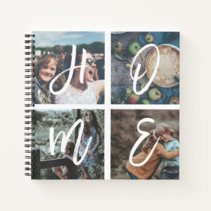 Custom Family Photo Collage Brush Script HOME Notebook - script gifts template templates diy customize personalize special