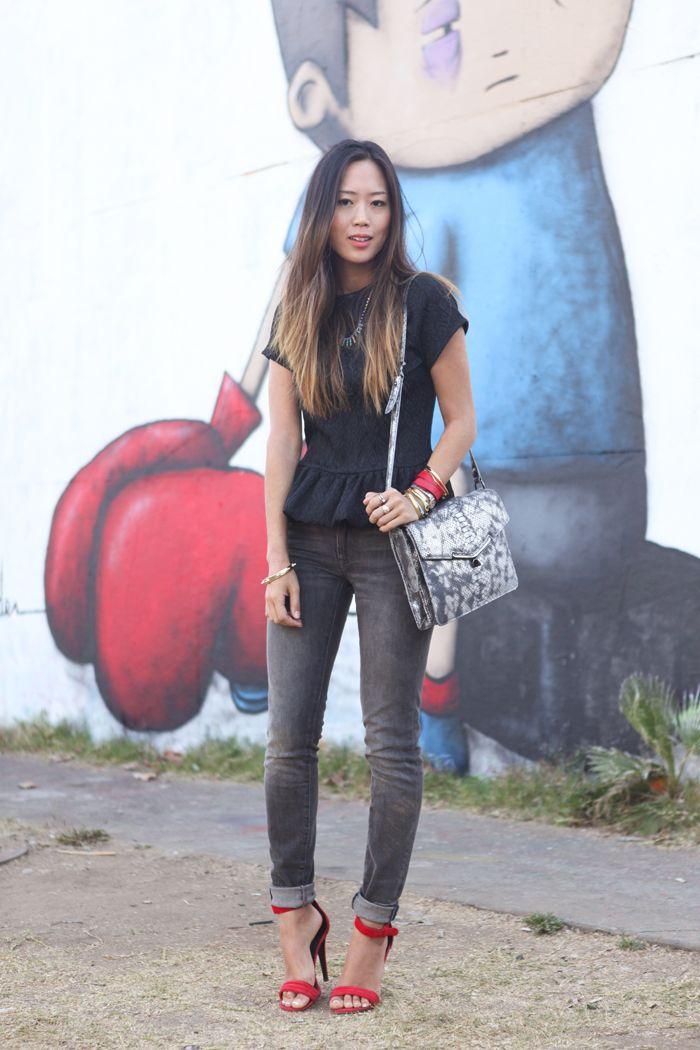 peplum top and grey skinny jeans + #Celine heels