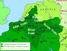 Map of the Frankish homeland in the late Antiquity and Early Middle Ages, 4th to 9th centuries CE