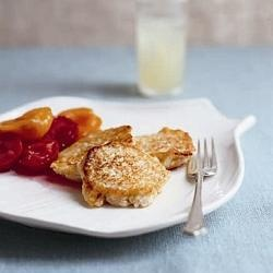 Ricotta fritters with poached stone fruit