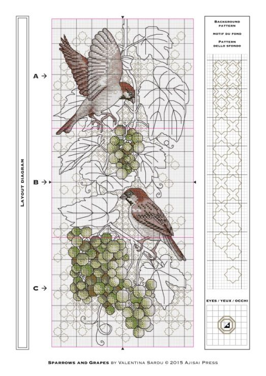 Gallery.ru / Фото #4 - Ajisai Designs - Sparrows and Grapes - tymannost