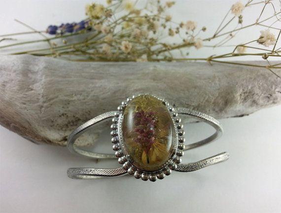 Wild Flower Cuff Bracelet preserved in resin by WildFernArt