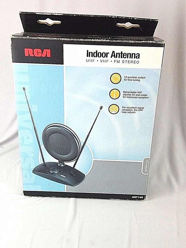 RCA Amplified Indoor FM Stereo TV Antenna, Black Model ANT145 #RCA