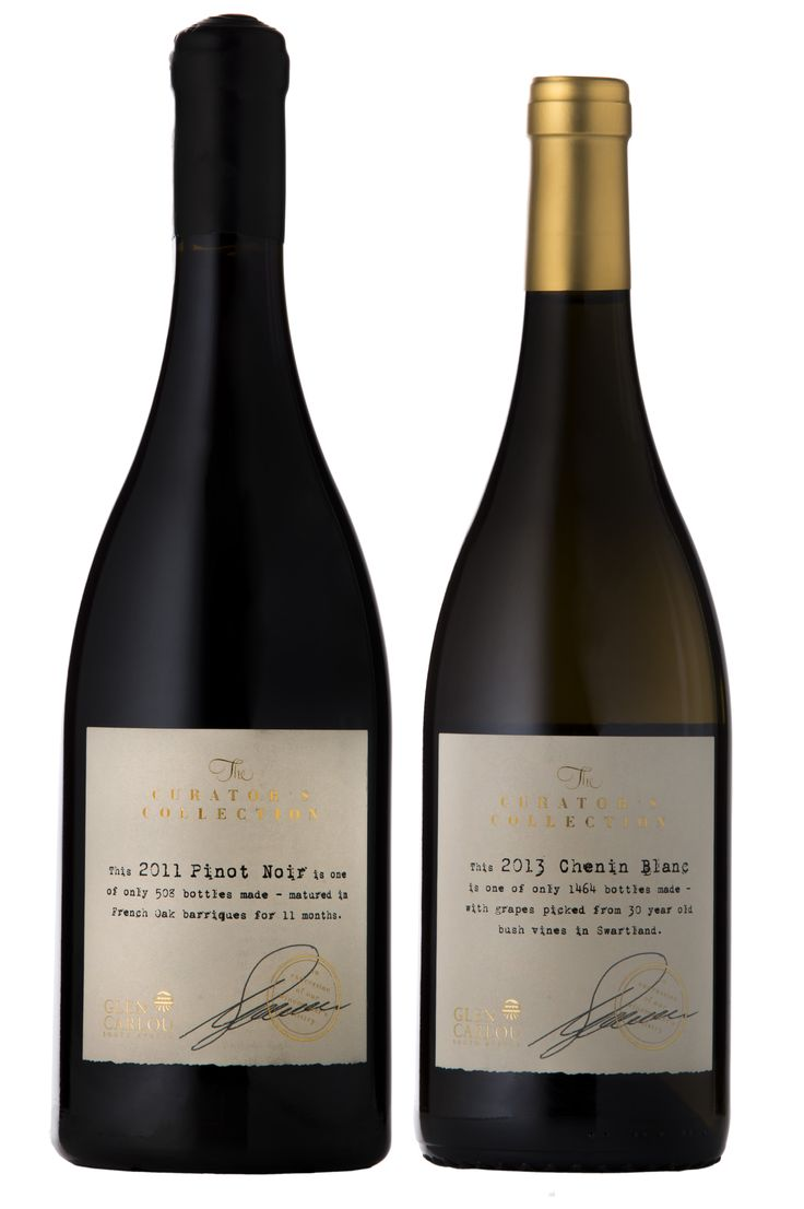 Glen Carlou The Curator's Collection: Pinot Noir 2011, Chenin Blanc 2013 Design firm: The Hardy Boys #wine #packaging #SouthAfrica