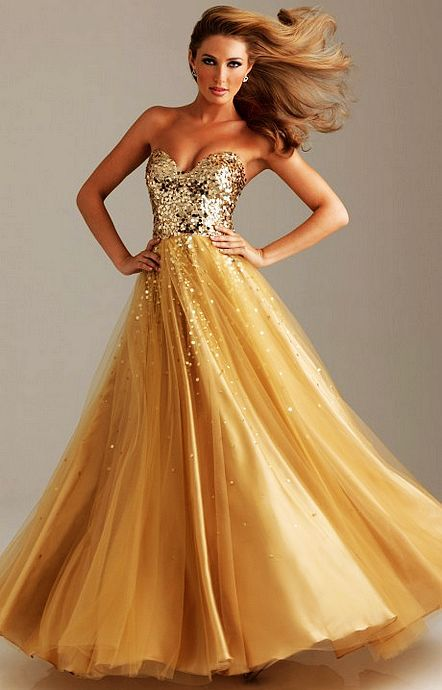 Gold Sequin Top Strapless Gown