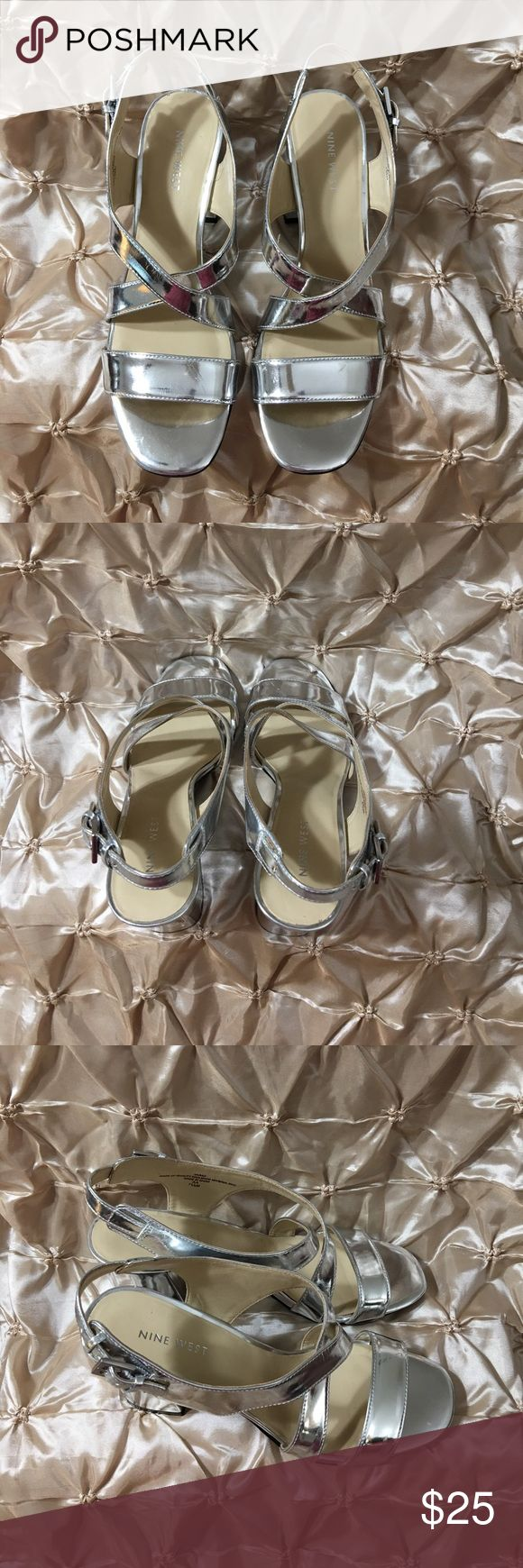 "Nine West Silver Sandals Size 7 1/2 Women Nine West Silver Sandals Size 7 1/2 Women have scratches through out the sandals. Heel Height 3 1/2"" Nine West Shoes Sandals"