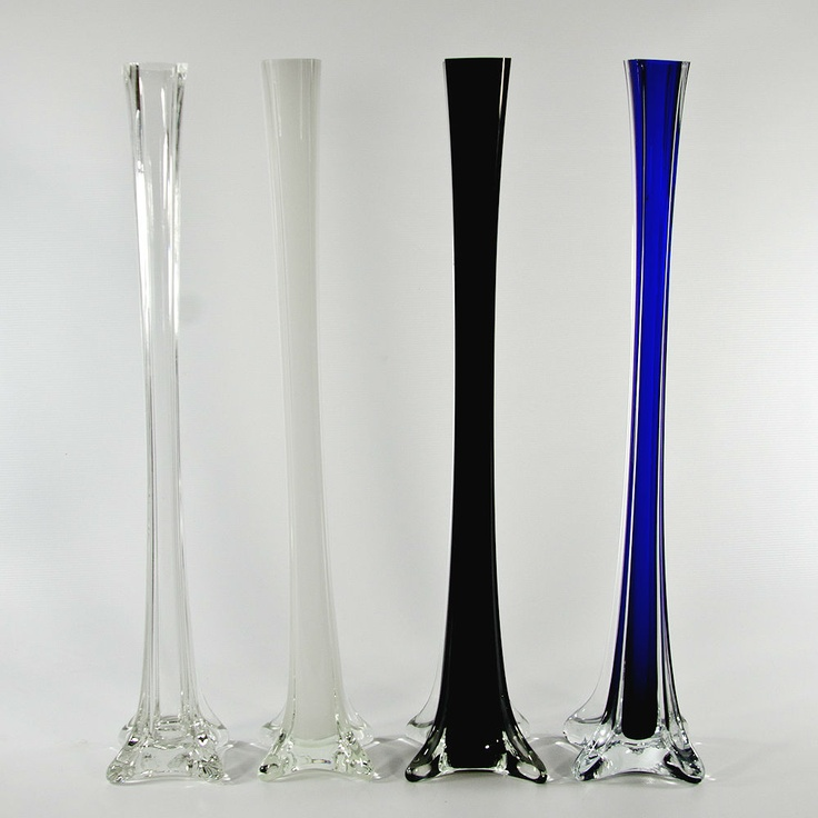 Quot glass eiffel tower vase in clear white blue or black