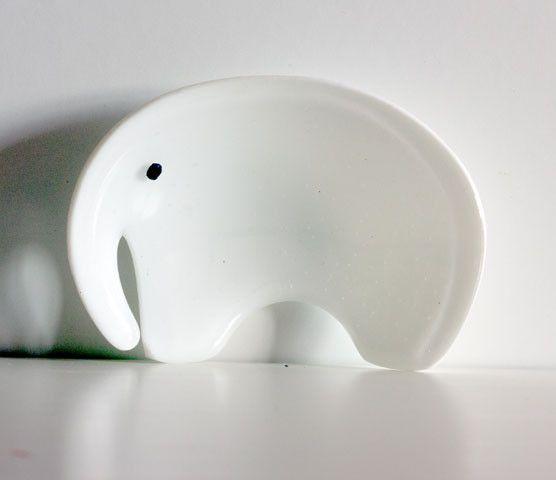 Montages - The Glass Studio — Elephant Dish - White