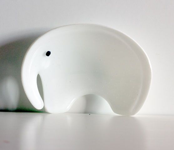 Montages - The Glass Studio — Elephant Dish - White