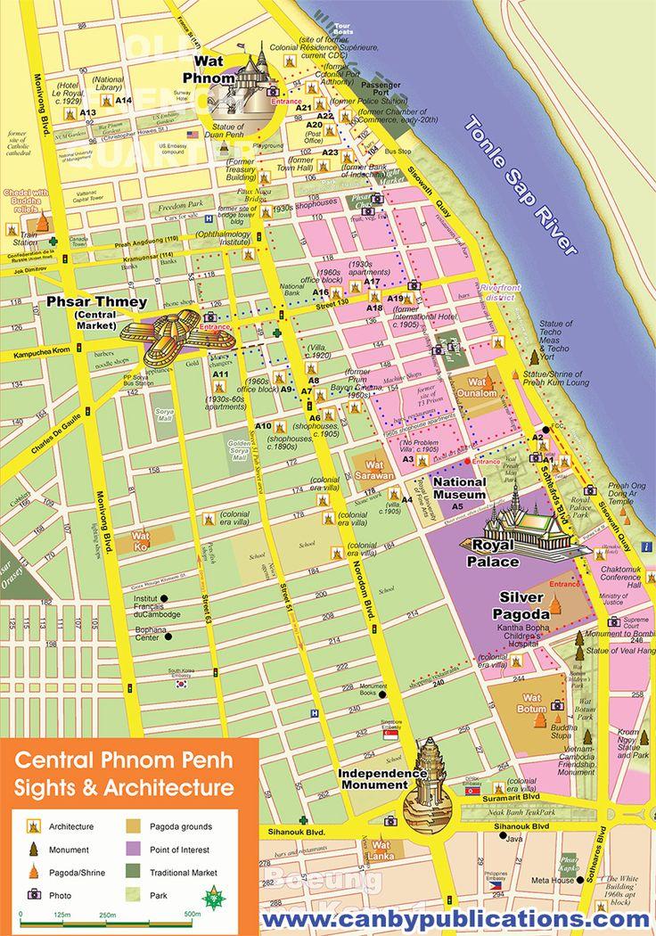 Phnom Penh Tourisng Map, Cambodia