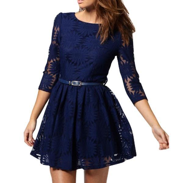 Кружевное платье синего
