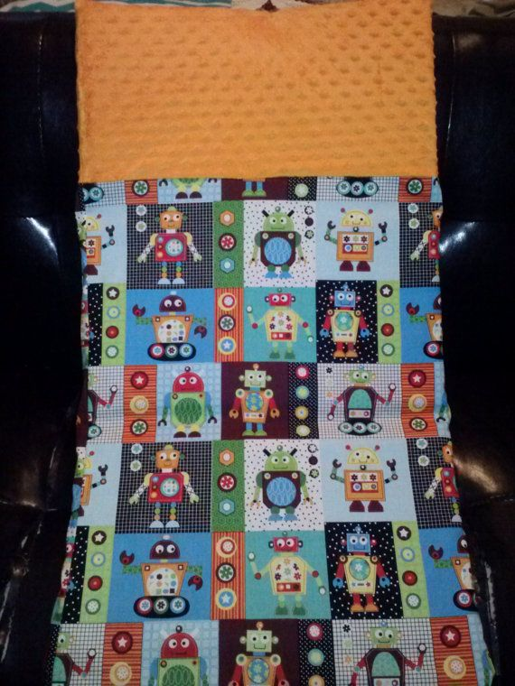 Crazy Robot Kinder Mat/ Nap Mat cover with orange minky headrest, back to school, kindergarten, boy