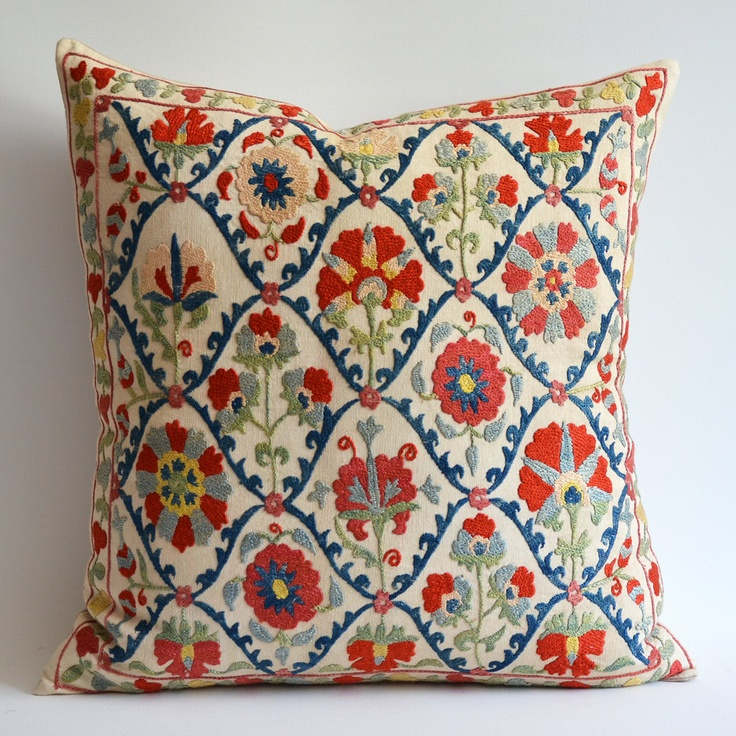 Sukan / Vintage Hand Embroidered Silk Suzani Pillow, Organic Modern Bohemian…
