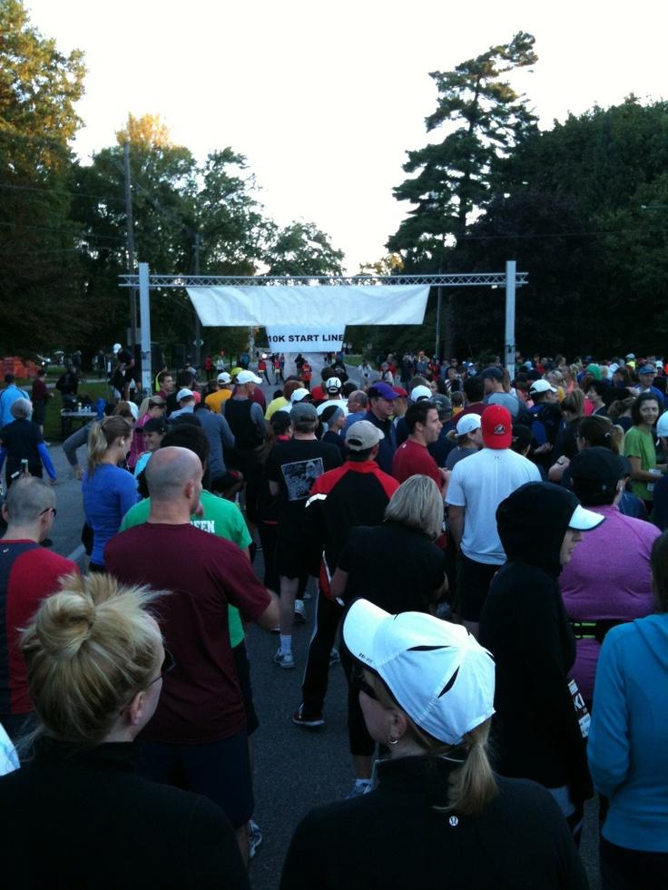 Runners for the Oakville Half Marathon 10K event getting ready at the start line.
