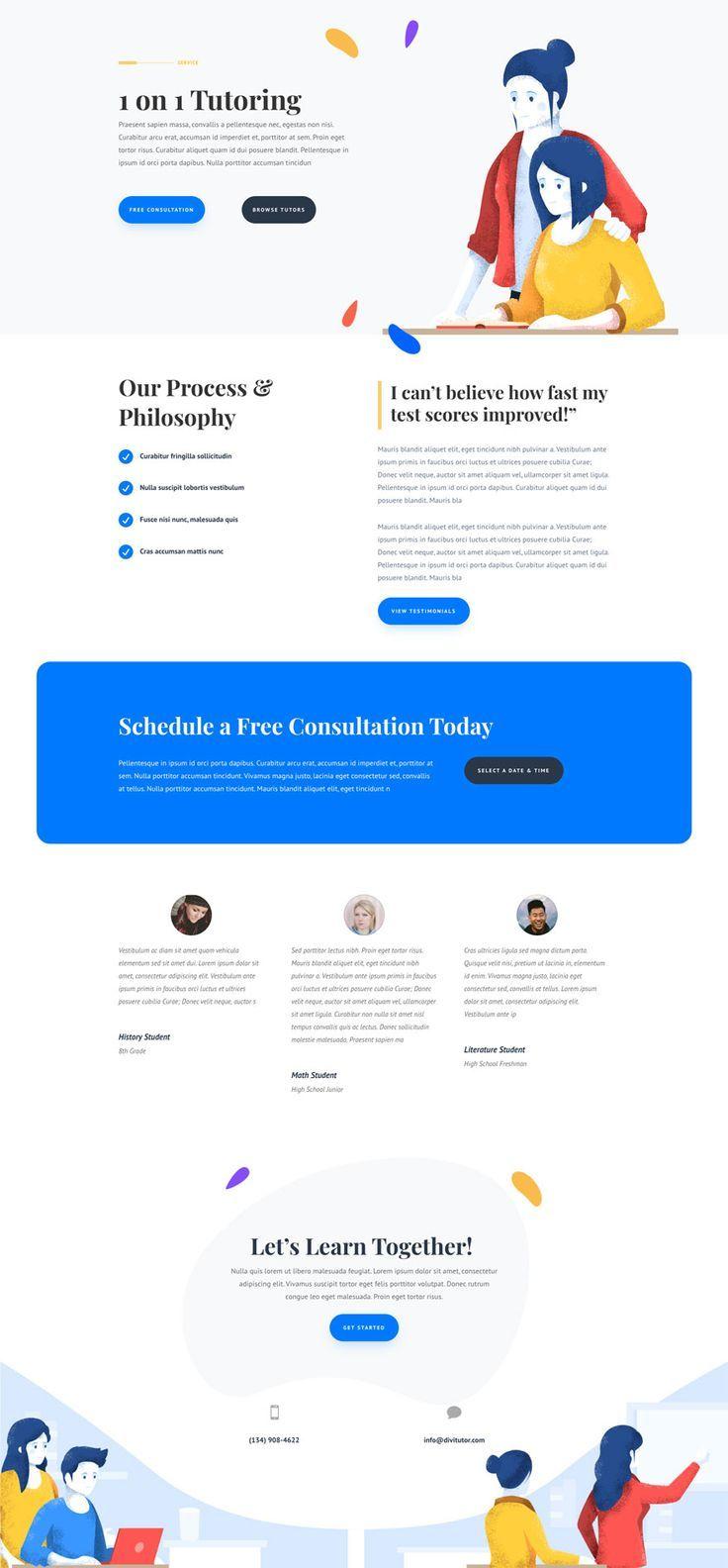 Tutor Landing Page Elegant Themes Website Template Design Web Design Trends Website Design Layout