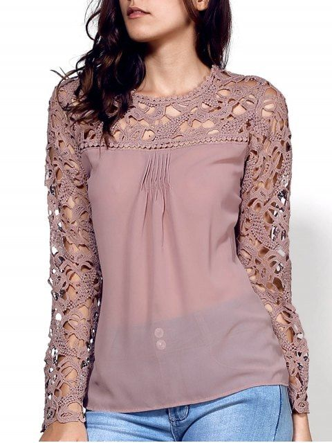 Lace Embroidery Long Sleeve Spliced Blouse - KHAKI S