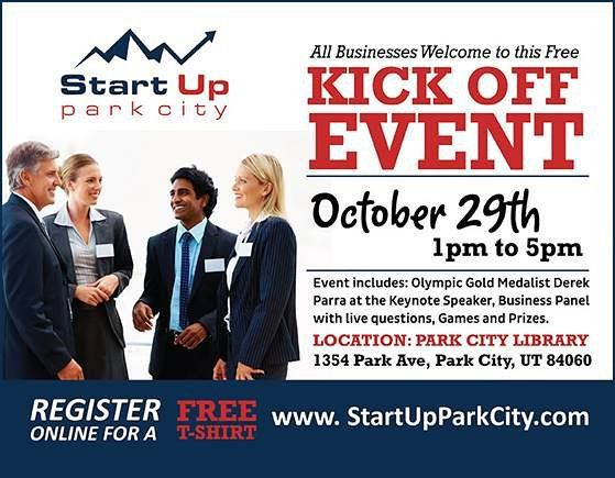 We're honored to be sponsoring Startup Park City and their free Kick-Off event on October 29th! Learn from like-minded individuals and get a free t-shirt when you pre-register!  #Marketing #Sales #ROI #Business #SmallBusiness #Company #Event #ParkCity #StartUp #Entrepreneur #KickOff #Library #StartUpParkCity #Advertising #DerekParra #Olympian #Olympics #GoldMedal #Athlete #Sponsor  http://www.conceptmrk.com/start-up-park-city-concept-marketing/