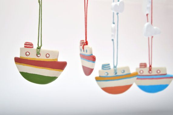 Clay necklaceBoat necklaceSummer necklaceColorful by 2eggsProject
