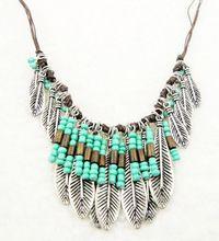 Bohemian Style Silver Resin Turquoise Bead Mteal Leaf Long Pendant Tassel Fringe Bib Necklace Turkish Ethnic Boho Necklace(China (Mainland))
