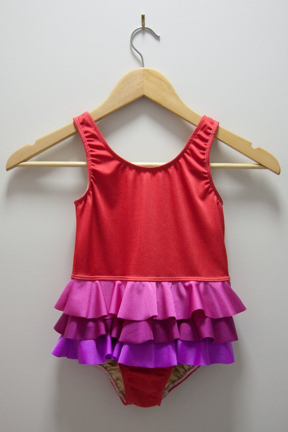 Frills all 'round swimsuit  RED