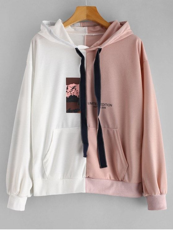 bfa69a189ab1 Front Pocket Two Tone Graphic Hoodie zaful  zaful