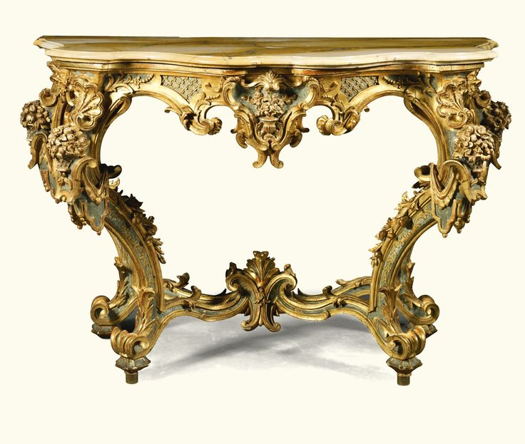 A Pair Of Italian Pale Blue Lacquered And Parcel Gilt Console Tables, 18th/