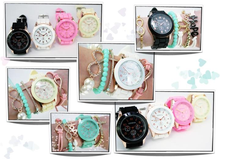 Nieuwe gekleurde horloges www.oohlala.nl €12,50 p.s  Geneva candy kleuren horloges
