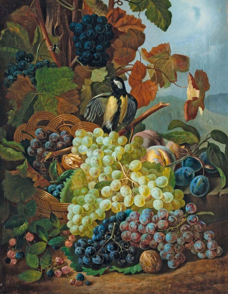 Aukció: 2015. december 15.: Küss, Ferdinand (1800-1886) -nak tulajdonítva; Csendélet gyümölcsökkel és cinegével, 1850 körül; olaj vászon