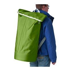 IKEA - HUMLARE, Bag, This bag can be carried by the handle or like a backpack.Easy to lift and empty as there are handles on both the top and bottom.This versatile bag has many uses, such as carrying laundry, storing sports equipment or transporting recyclables. It's waterproof and has a zipper closure that keeps in odors.