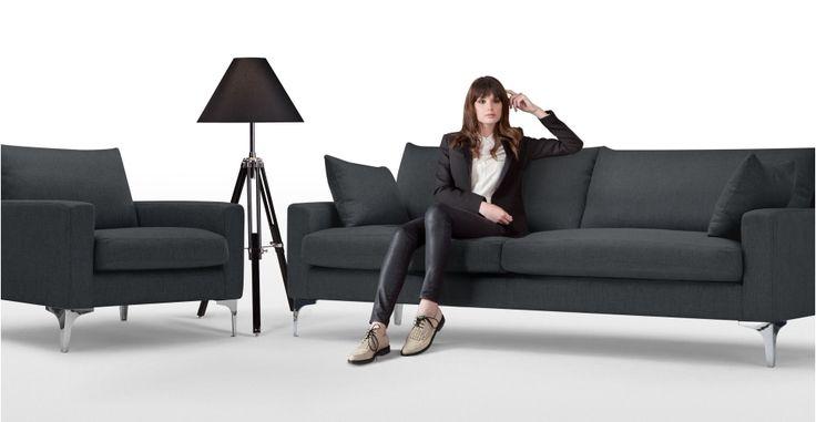 Mendini 3 Seater Sofa in anthracite grey | made.com