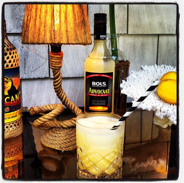 """via Slim Paley: """"The Creamsicle"""" Fill smallish glass tumbler with ice, pour chilled Advocaat over cubes, add ginger ale...to die for."""