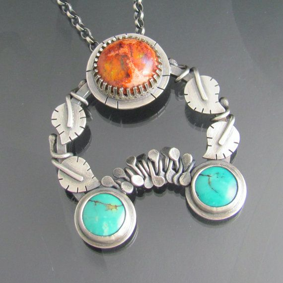 sterling silver mexican opal and turquoise by NRjewellerydesign