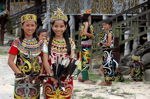 Dayak children,  Kalimantan Island, Indonesia.