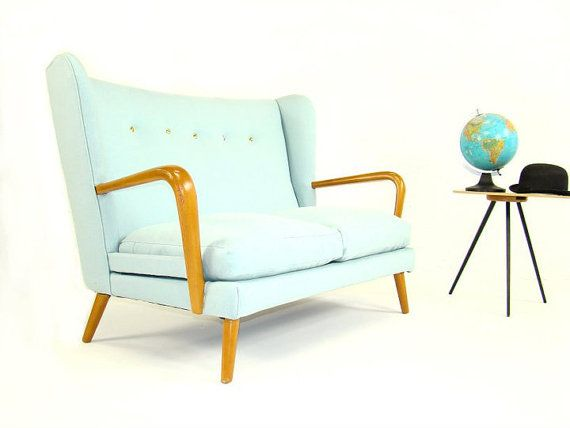 c1950 Vintage Howard Keith Wingback Sofa by hopperandspace on etsy.