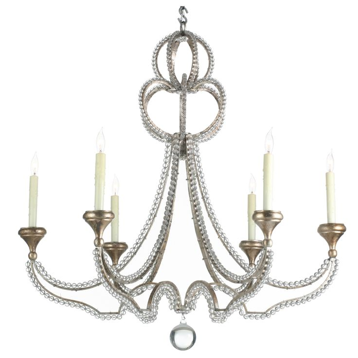 Niermann weeks danieli chandelier with oxidized silver leaf finish and glass crystals
