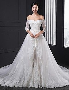 Ball+Gown+Wedding+Dress+Two-In-One+Wedding+Dresses+Chapel+Tr...+–+USD+$+322.99