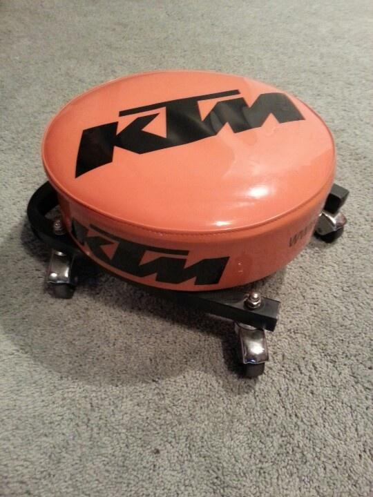 Took KTM shop stool top & lowered onto a mechanics wheel set devin needs this