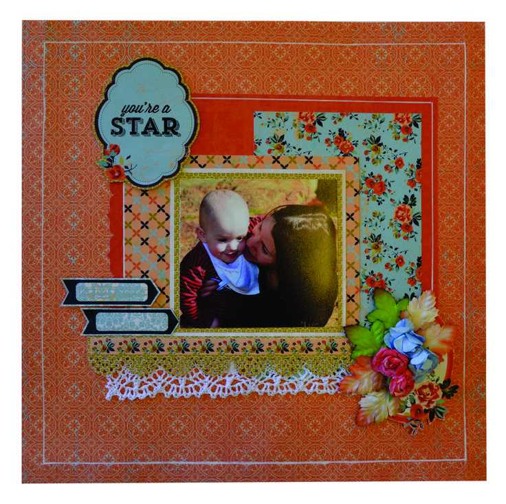 ORANGE YOUR A STAR SCRAPBOOK PAGE. Please send an email to frendz@frendz.com.au to order your pack which will include everything you need to create this page.