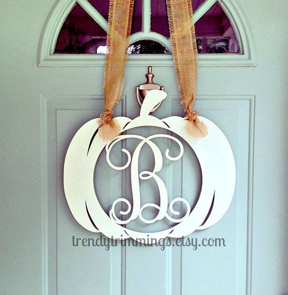 pumpkin with wooden monogram letter by trendytrimmings on etsy 2500 trendy trimmings pinterest wooden monogram wooden monogram letters and monogram