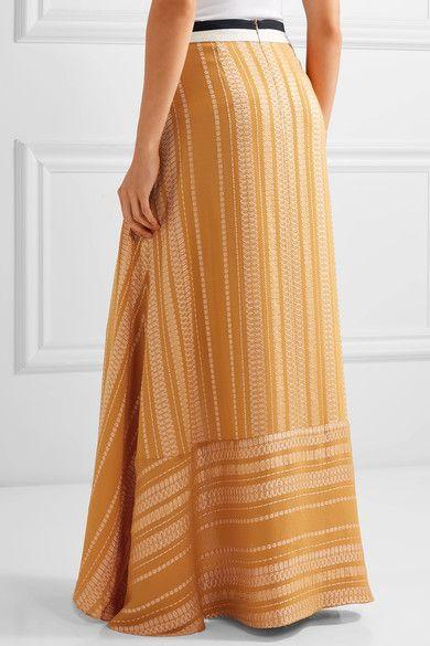 ZeusDione - Anthea Crepe-trimmed Silk-blend Jacquard Maxi Skirt - Orange - FR40