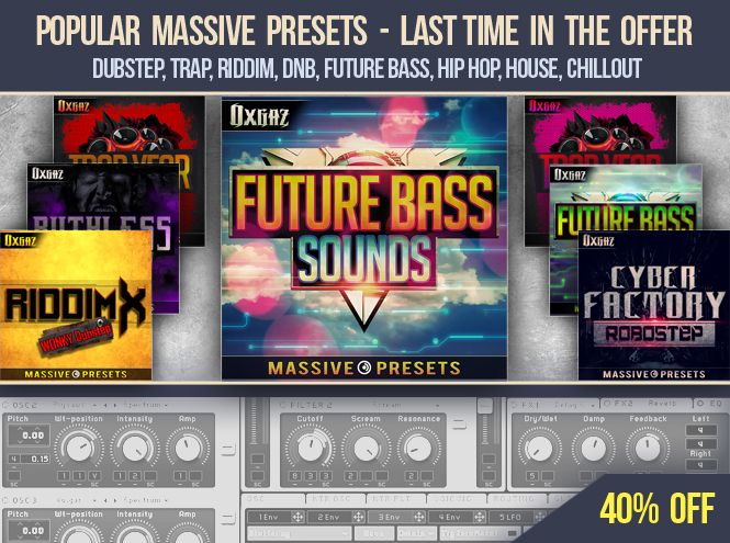 ► 123creative deal: 40% off on Massive preset banks – last time in stock. Massive presets for Dubstep, Trap, Riddim, DnB, Future Bass, Hip Hop, House, Chillout music production: https://www.123creative.com/207-electronic-music-production-special-deals