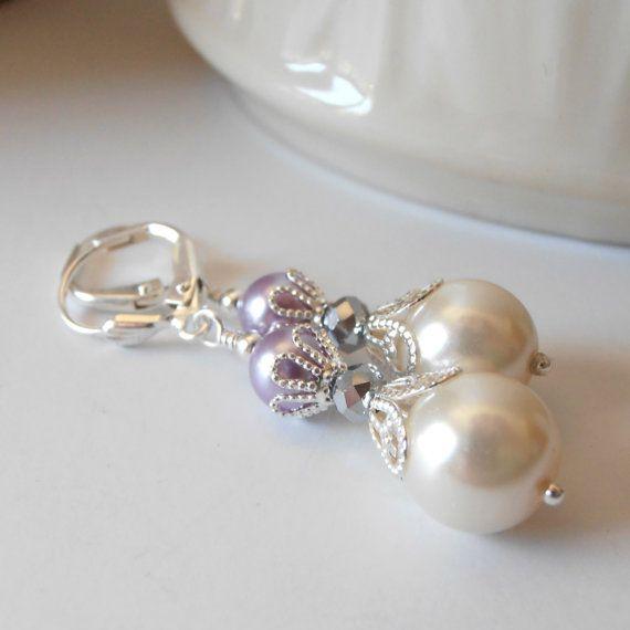 Dama púrpura Pendientes perla y aretes de Dama de honor