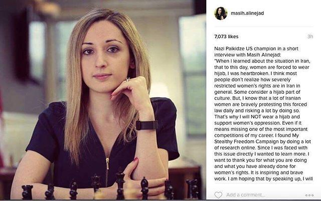 This is a post for those who don't understand why I am boycotting FIDE's decision.  I think it's unacceptable to host a WOMEN'S World Championship in a place where women do not have basic fundamental rights and are treated as second-class citizens.  For those saying that I don't know anything about Iran: I have received the most support and gratitude from the people of Iran, who are facing this situation every day.  Thank you MyStealthyFreedom for sharing my interview.