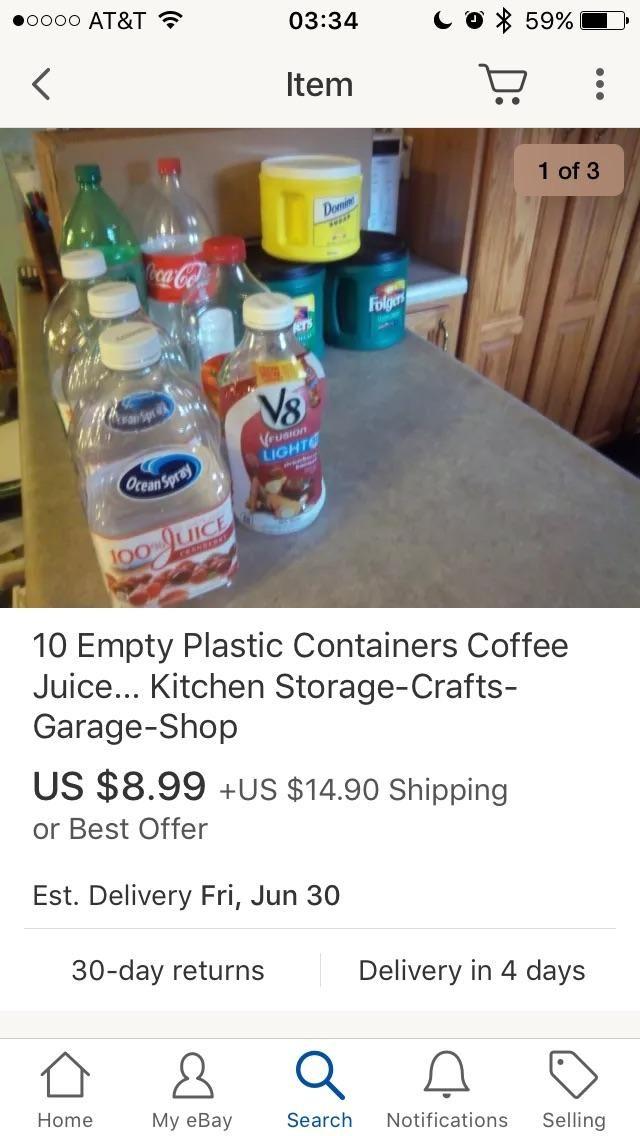 What empty plastic bottles for sale on eBay!! Honey where's my wallet?!