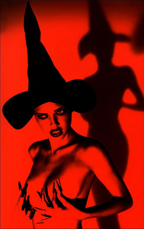 """""""Are you a Good witch or a Bad witch?': Red, Adriana Lima, Art, Ellenvonunwerth, Witchy Woman, Adrianalima, Halloween, Wicked, Ellen Von Unwerth"""