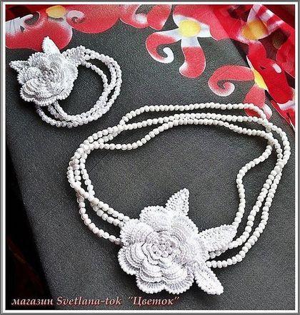 """Set di gioielli fatti a mano.  Fiera Masters - ornamenti fatti a mano all'uncinetto Set """"Fiore"""" (venduto).  Handmade."""