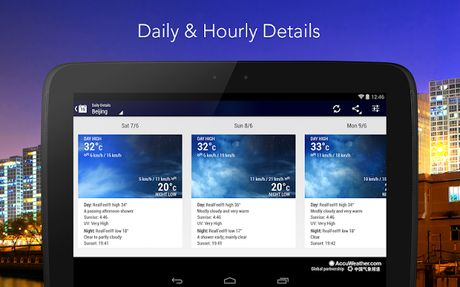 Stay connected to the latest weather conditions with AccuWeather Platinum. Now supporting Android Wear this free app features the new AccuWeather MinuteCast the leading minute-by-minute precipitation forecast hyper-localized to your exact street address. AccuWeather offers the same Superior Accuracy and great experience across all Android smartphones and tablets and Android Wear. Weatherproof your day for free with these features:  AccuWeather MinuteCast  minute-by-minute precipitation…