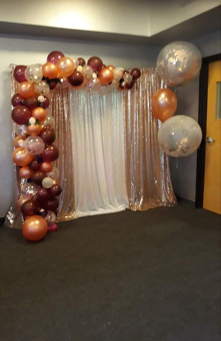 By Burst Of Balloons Alfonso Thornton Nekeisha 45 Birthday Party Rose Gold And Plum Bal Simple Birthday Decorations Gold Birthday Party Gold Graduation Party